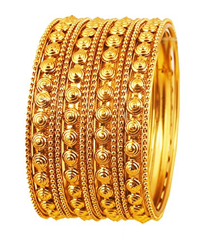 NEW! Touchstone Indian Bollywood Finery Look Exclusive Embossing Designer Jewelry Bangles Bracelets. Set of 4 In Antique Gold Tone For - Brands Exclusive Designer