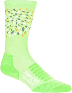 product image for Farm to Feet Women's Hillsborough Lightweight Elite Hiking Crew Socks, Green Flash/Blazing Orange, Large