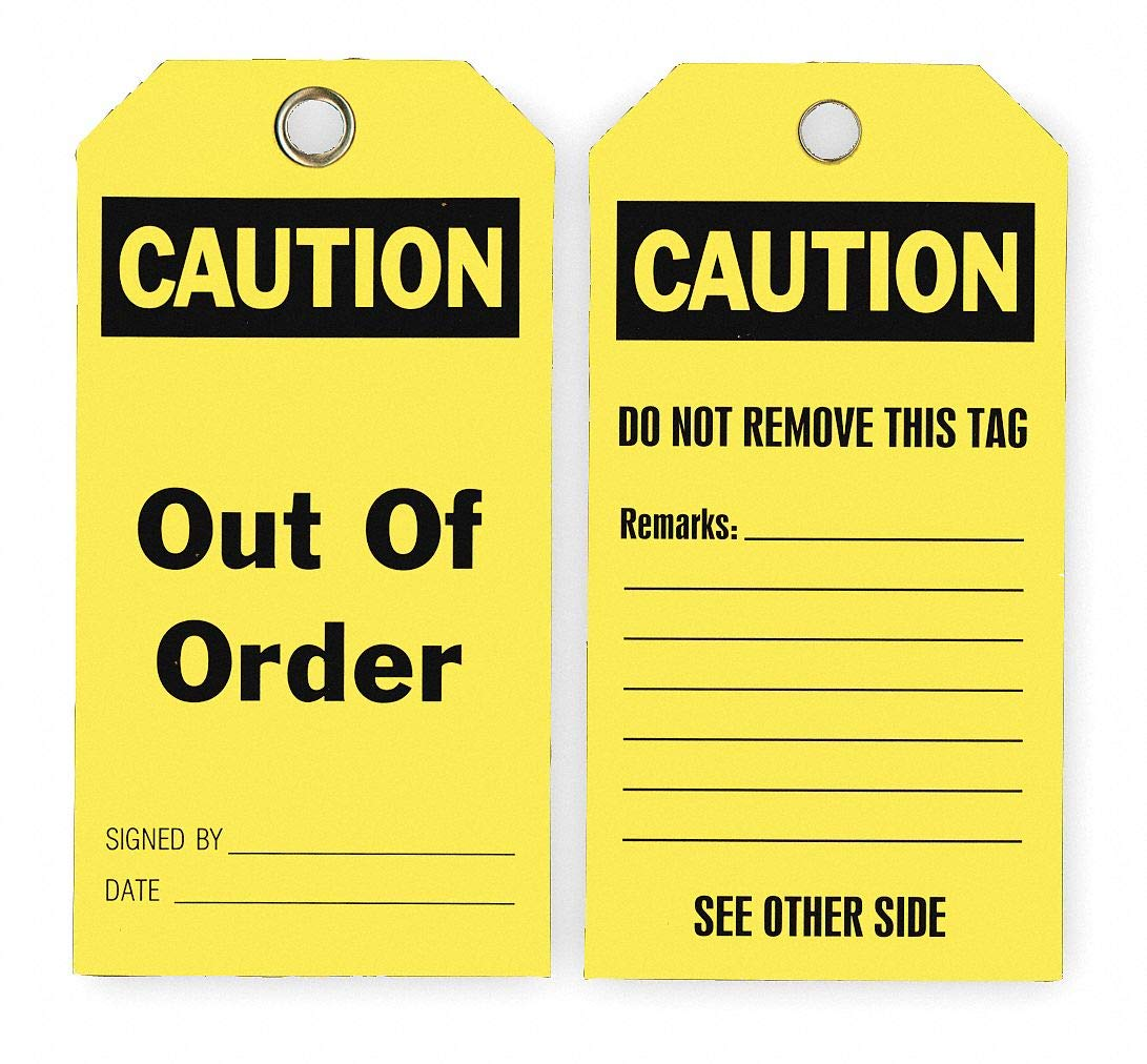 Caution Tag, Height: 5-3/4'', Width: 3'', Yellow pack of 5