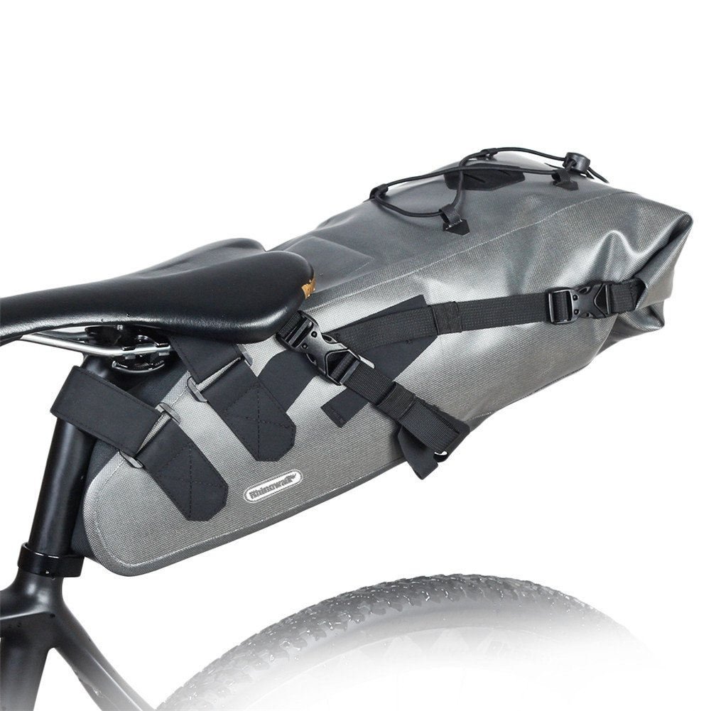 Roful RHINOWALK 10L 100% Waterproof Saddle Bike Bag Package for Bicycle Cycling (Gray) by Roful (Image #1)