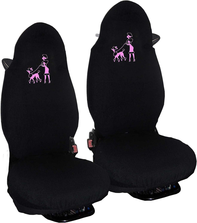 Asiam Auto Sitzbezüge Schonbezüge Sitzbezug Pink Frau Mit Pudel Für Smart For Two Microfiber Made In Italy Auto