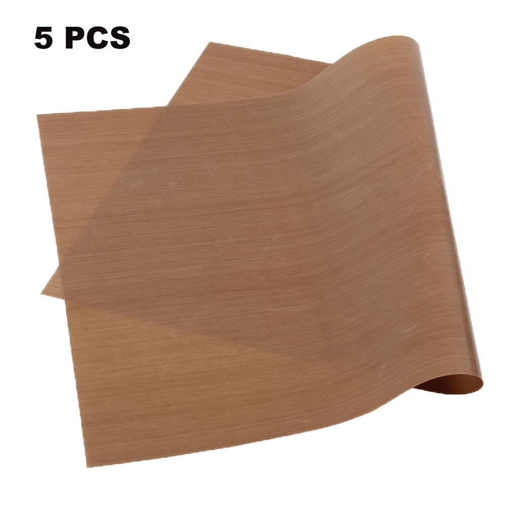 """5 Pack Non-Stick Oven Liners PTFE Teflon Sheet for Heat Press Transfer 16 x 20"""" Non Stick Heat Resistant Craft Mat FDA Approved"""