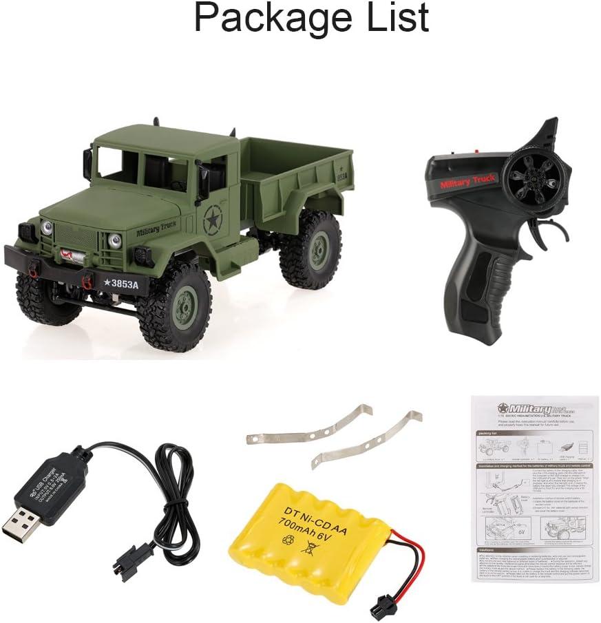 Goolsky WPL B-1 1//16 2.4G 4WD Off-Road RC Truck Rock Crawler Army Car