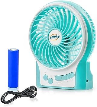 NEWELLYY efluky Ventilador de Escritorio Ventilador de Mesa Ventilador Pequeño Ventilador silencioso Ventilador Recargable Ventilador de Ventilador USB Ventilador de Viaje 4.5 Pulgadas 3 Velocidades: Amazon.es: Hogar