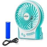 efluky Desk Fan Table Fan Mini Fan Small Quiet Fan Rechargeable Fan USB Fan Travel Fan 4.5 Inch 3 Speeds (Blue)