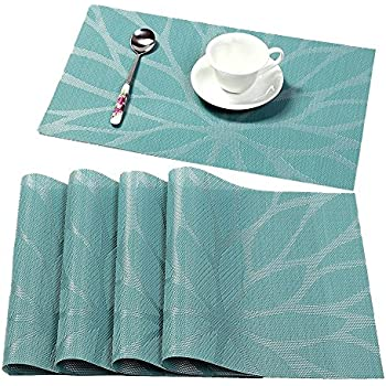 HEBE Washable Placemats For Dining Table Heat Insulation Stain Resistant  Woven Vinyl Kitchen Table Mats Placemat