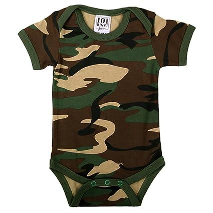 BARBOTEUSE de bebé mango corto/Body Bebé manga corta – bajo ropa bebé nacimiento en algodón – camuflaje caqui Militar Camo – regalo de nacimiento BB ...