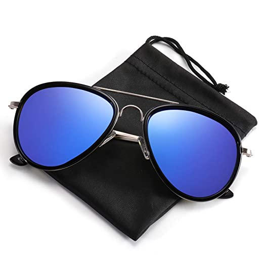 b2c70e843f1d Classic Aviator Sunglasses for Men, PARZIN Women Vintage Mirrored Beach Glasses  UV Protection PZ9506