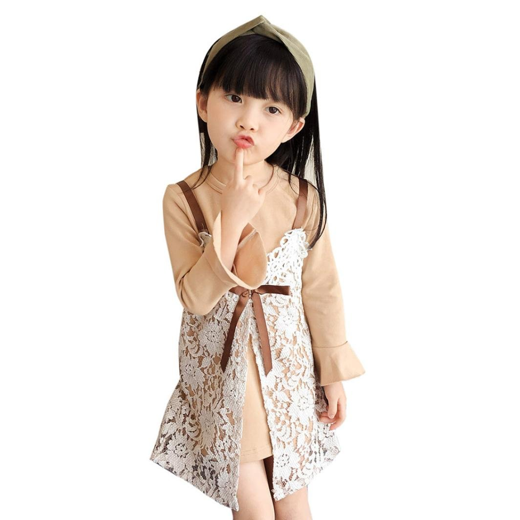 VIASA Toddler Baby Kids Girls Outfits Clothes Flare Sleeve T-Shirt Cotton Tops+Bowknot Lace Camisole Dress Set
