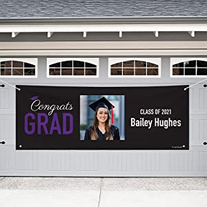 Just Candy Personalized 8ft. Graduation Giant Banner Class of 2021 Party Decorations - Purple