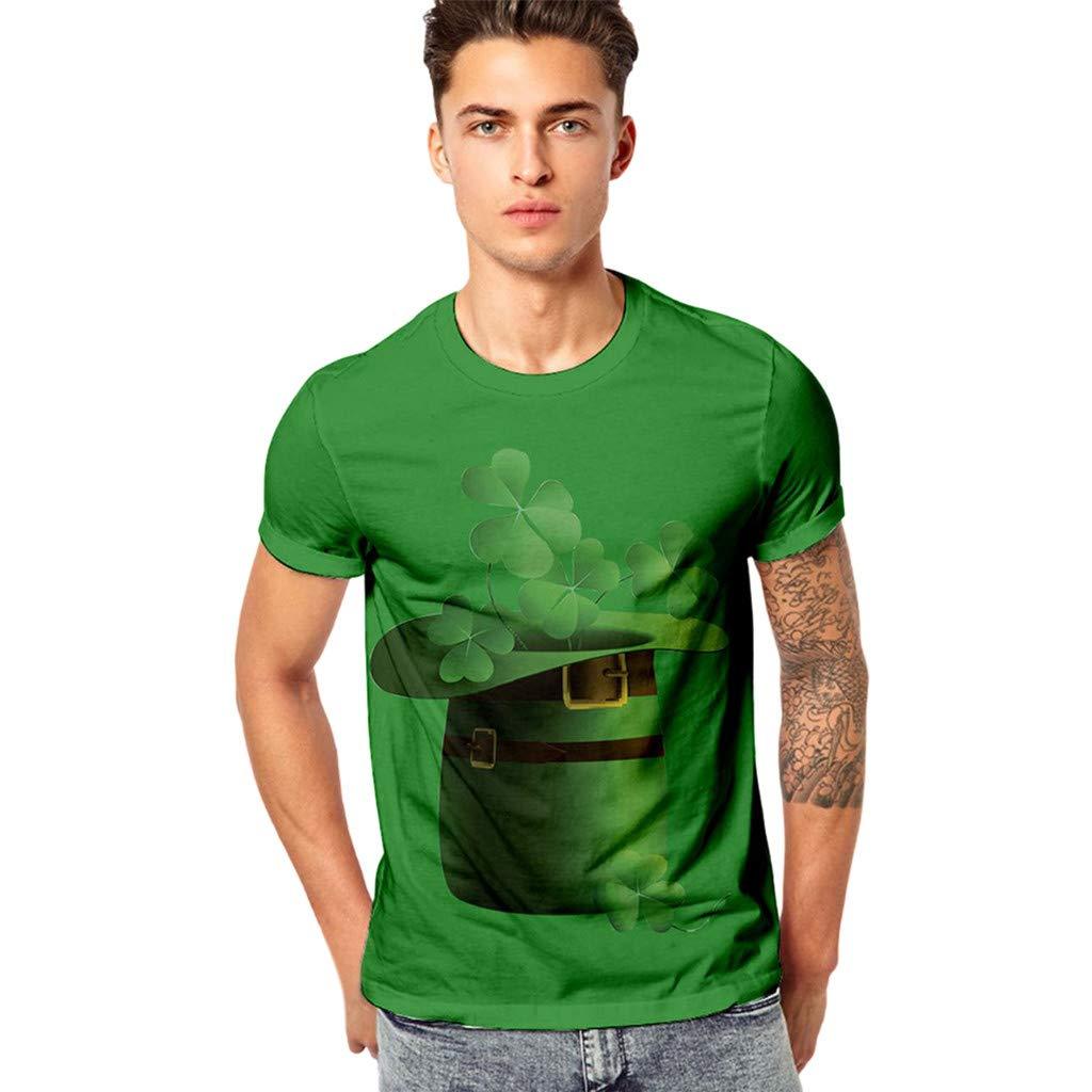 minjiSF Mens 3D Print Casual St Patricks Day Short-Sleeved Shirt Top Blouse