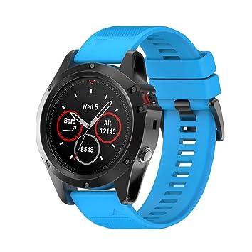 Saisiyiky Correas para Garmin fenix 5X GPS banda de silicona de garmin fenix 5 correa (Azul): Amazon.es: Deportes y aire libre