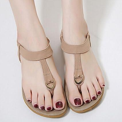 29a248eae16 Amazon.com  Hemlock Women Bohemia Flat Sandal Shoes Size 4.5-Size 10 Sandals  (US 5