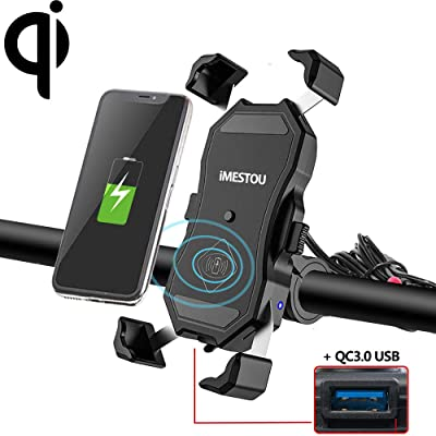 iMESTOU Motorcycle Wireless Qi/USB Phone Charger Holder Handlebar/Rear-view Mirror Cellphone Mount with Waterproof Switch 10A Fuse Fast Charging for iPhone Samsung 3.5-6.5 inch Cellphones: Automotive [5Bkhe0405286]