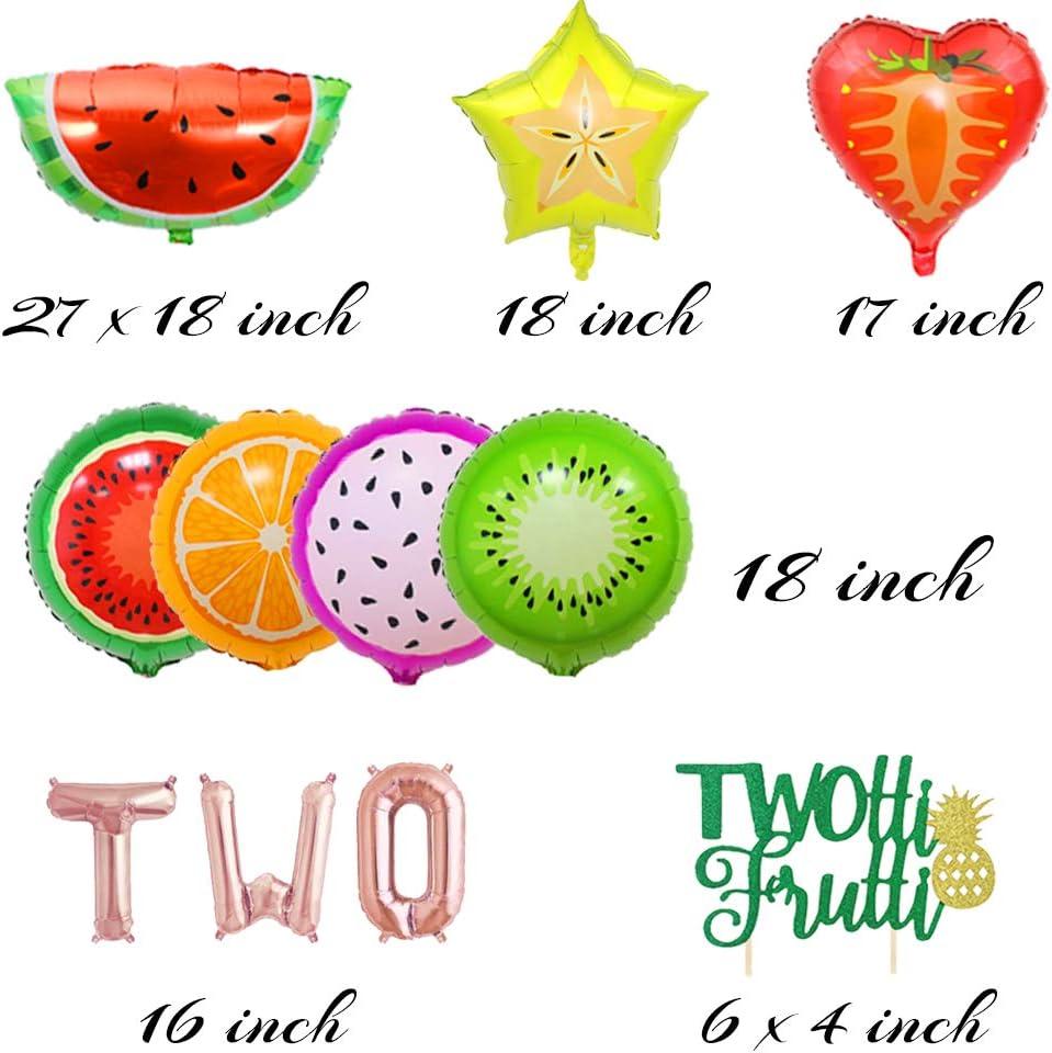 LaVenty 9PCS Twotti Frutti Birthday Decoration Tutti Frutti Party Backdrop Two-tti Frutti Birthday Decor Fruit Birthday Decoration Fruit Balloons