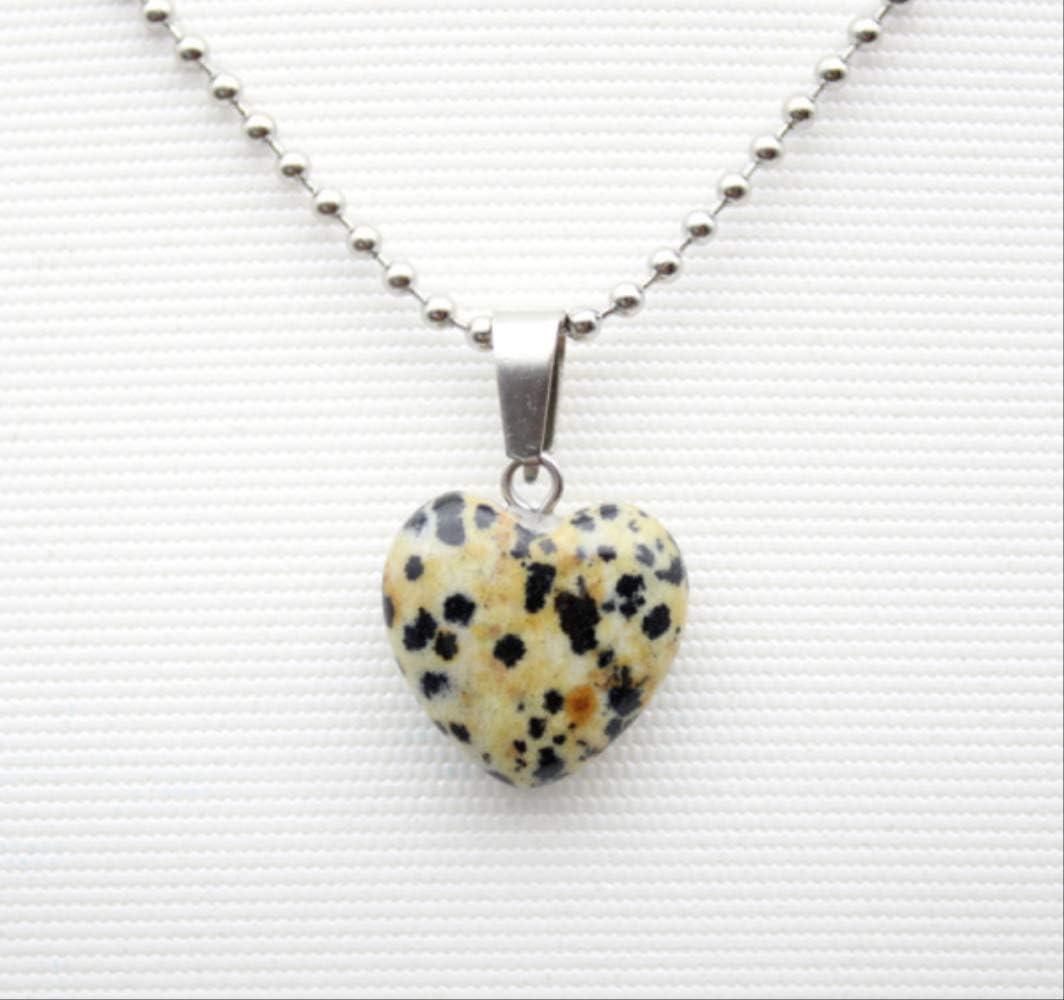 16 Mm Moda Natural Cuarzo Piedra Corazón Colgante Joyería Ágata Piedra Turquesa Malaquita Collar Hecho No.4