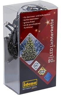 Deko 9,4 m mit 6 Stunden Timer Funktion Batterie betrieben als Stimmungslicht f/ür Partys Weihnachten LED Lichterkette mit 120 LED in warm wei/ß und 8 Lichtfunktionen Idena 30075 ca Hochzeit