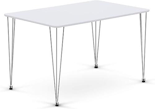 Ivinta Modern Wood White Dining Table