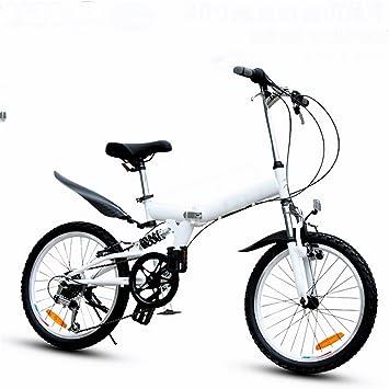 MASLEID bicicleta plegable bicicleta de montaña de 6 velocidades de 20 pulgadas , white