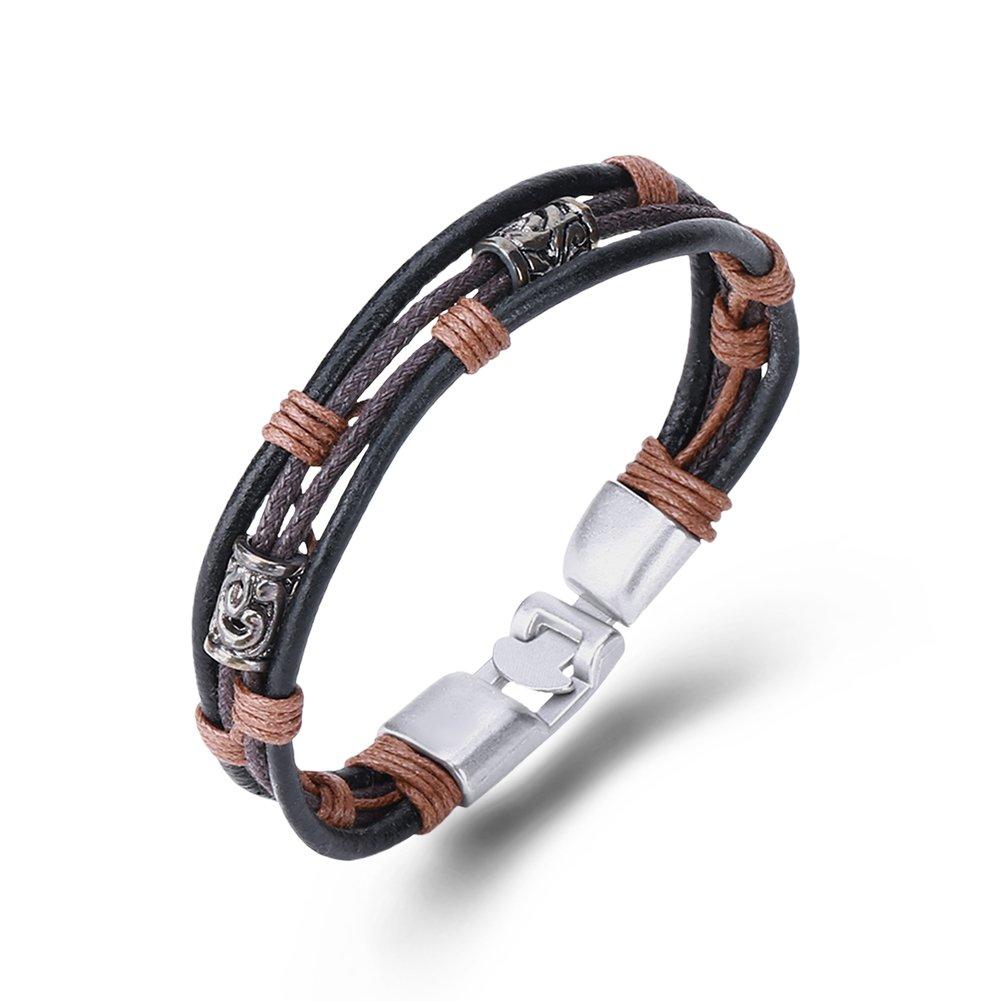 Armband Unisex Retro-Punk Style schwarz Nuncad, Armband Leder Damen/Herren geflochten, Bandage-Design New Fashion, 21.5cm 70er/80er New Fashion FSH355-B