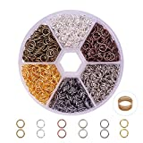 PandaHall Elite 1 Box 6 Colors About 1800 Pcs Iron Plated Jump Rings Unsoldered 6mm Diameter Wire 21-Gauge Jewelry Making Findings