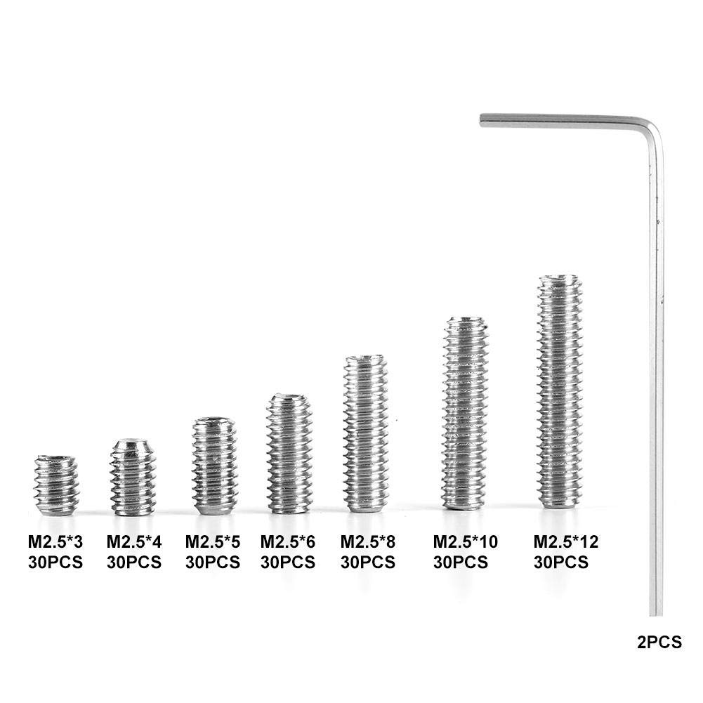 212Pcs Set Screws Stainless Steel M2.5 A2-DIN916 Inner Hex Concave End Tighten Fasteners Grub Screws Hardware Tool Hand Tool Accessories