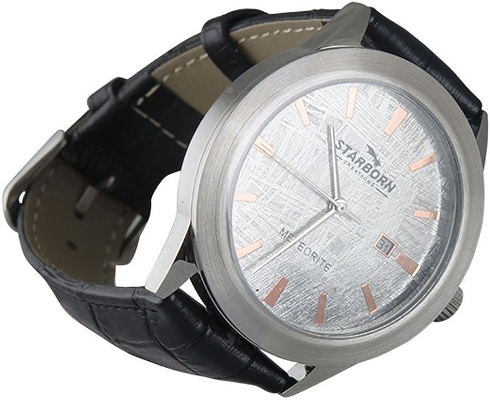 starborn Creaciones auténtica meteorito muonionalusta Reloj con Banda de Cuero Negro