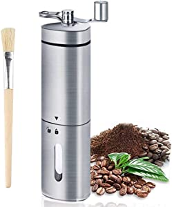 Manual Coffee Grinder - Coffee Hand Grinder 304 Food-Grade Stainless Steel with Adjustable Setting, Travel Portable Coffee Grinder Mill Ceramic Conical Burr with Brush for Aeropress, Drip Coffee, Espresso, French Press, Turkish, Camping