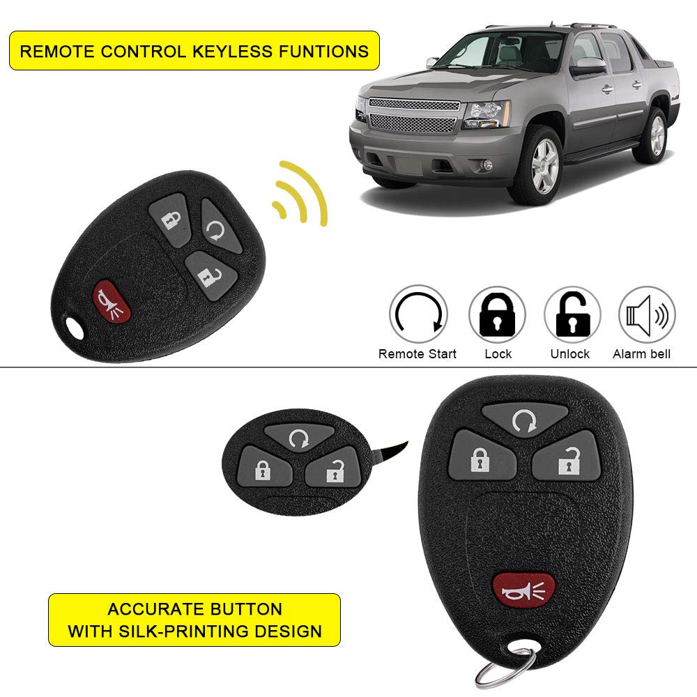 YITAMOTOR Key Fob Compatible for 2007 2008 2009 2010 2011 2012 2013 Chevy Silverado 1500 2500 3500 Keyless Remote Replacement for OUC60270 OUC60221