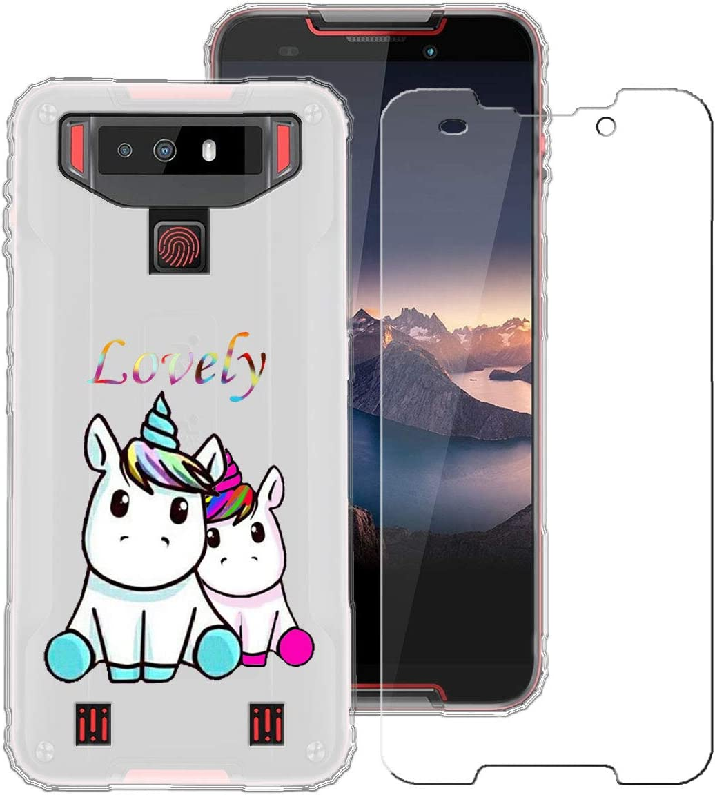 LJSM Case for Cubot Quest 5.5 -Clear Tempered Film Glass Screen Protector Semi-Transparent Silicone Soft TPU Cover Shell for Cubot Quest
