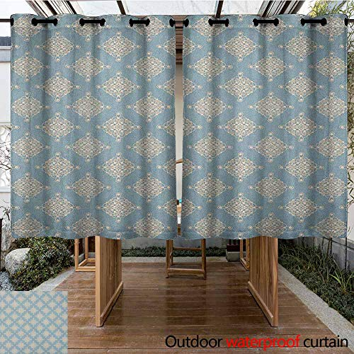 Abstract Damask Pearl - AndyTours Outdoor Blackout Curtain,Pearls,Abstract Swirled and Curved Lines Symmetrical Design Elements Vintage Royal,for Porch&Beach&Patio,K140C100 Slate Blue Gold