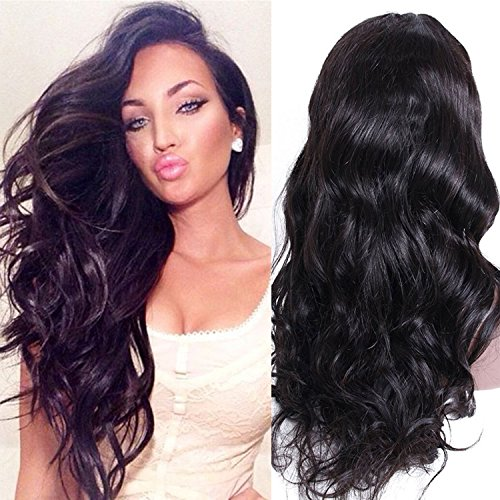 Premier Wig Body Wave Lace Front Wigs Glueless Brazilian Remy Virgin Human Hair Wigs Natural Loose Wave Lace Front Wigs with Baby Hair for Women Natural Hair Wigs 22Inches #1 Jet Black Lace Wig
