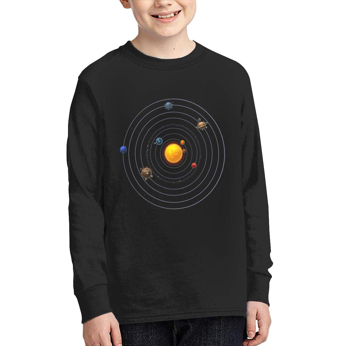 DXTDCMMe Solar System Planets Youth Long Sleeve Shirts for Boys Or Girls