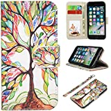 UrSpeedtekLive iPhone 7 Case, iPhone 8 Case, Wallet Case, Premium PU Leather Flip Case Cover with Card Slots & Kickstand for Apple iPhone 7 (2016) / iPhone 8 (2017) -Love Tree