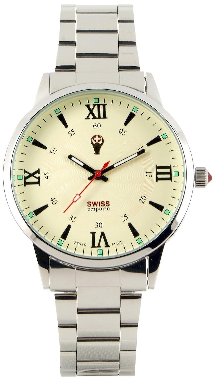 Swiss Emporio Herren-Armbanduhr - analog - Quarz - Armband aus Edelstahl und Zifferblatt in Beige - hergestellt in der