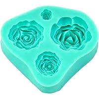 Stampo in Silicone a 4 Rose per Decorazione delle Torte Topper Fondente Fimo Sugarcraft