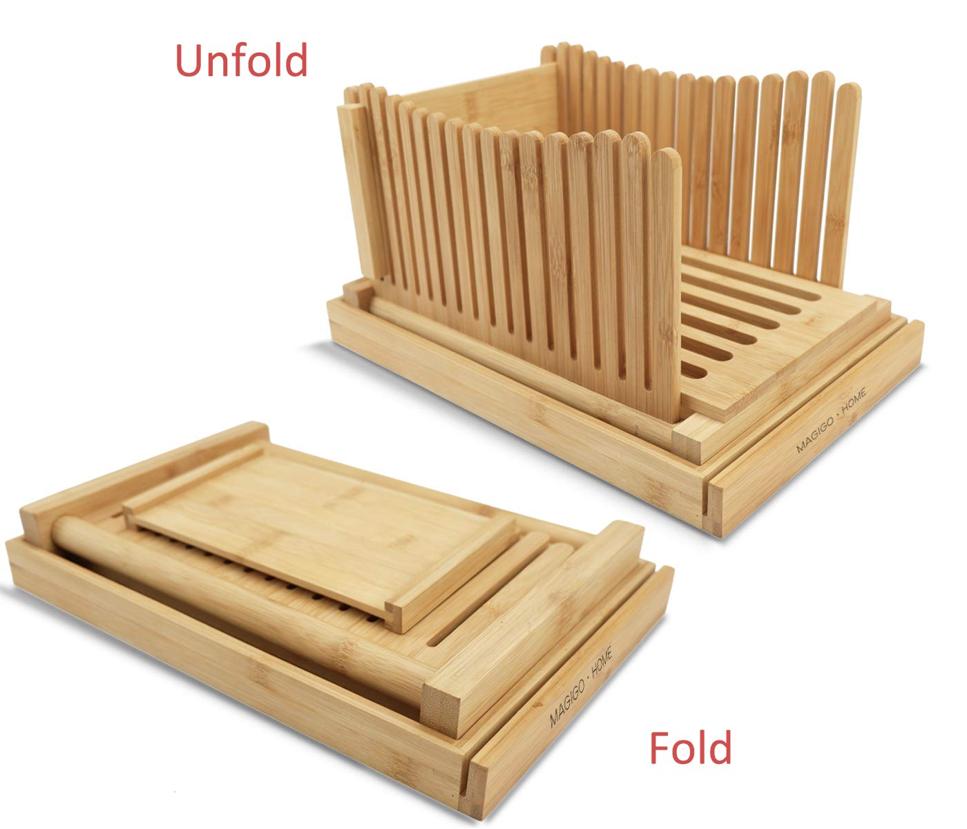 MAGIGO Nature Bamboo Foldable Bread Slicer with Crumb Catcher Tray, Bread Slicing Guide and Knife Rest for Homemade Bread & Loaf Cakes, Thickness Adjustable, Contains 20 Bread Bags & 20 Twist Ties by MAGIGO (Image #2)