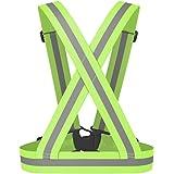 Chaleco de seguridad reflectante - TOOGOO(R) Chaleco de seguridad reflectante Cinturon cruzado de visibilidad de Correa reflectante Banda arnes faja cinturon de chaleco de correr, verde
