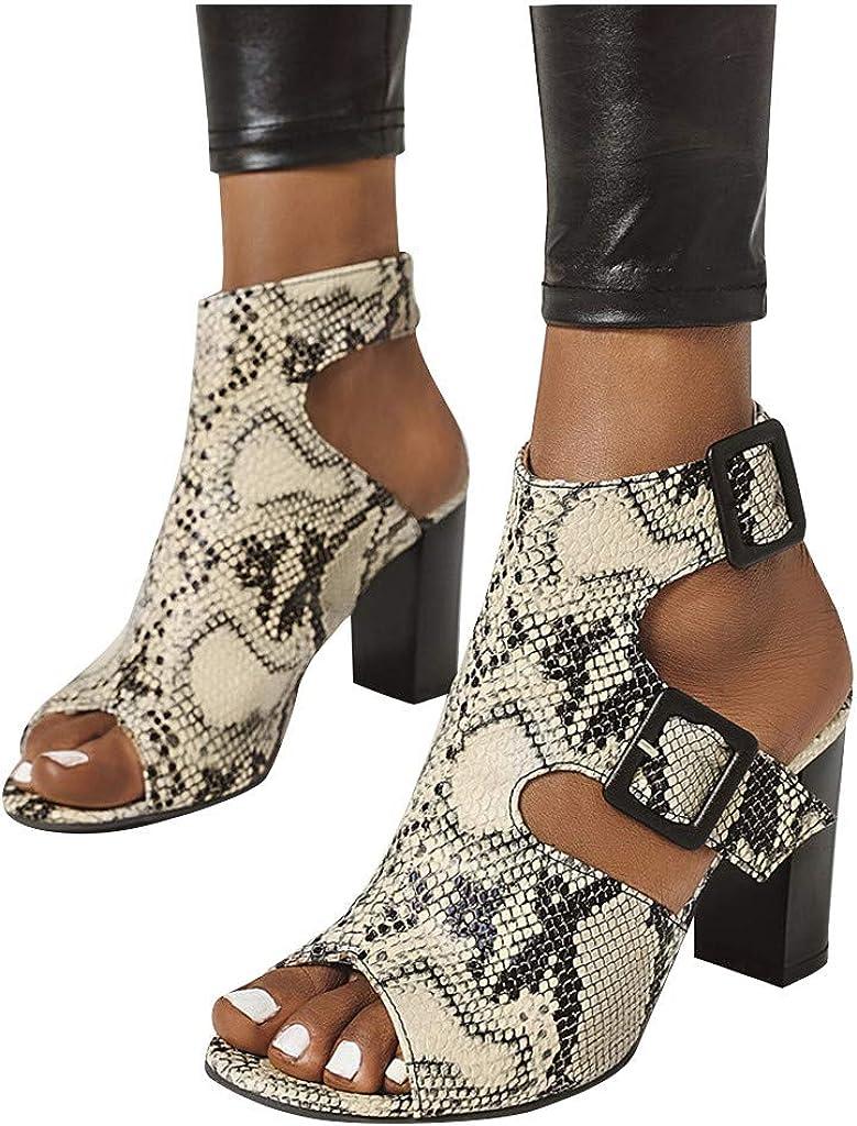 Leaf2you Women Wedge Sandals Summer Ladies Stylish Snake Print Buckle Strap Sandal Peep Toe Chunky Block Heel Sandals Shoes