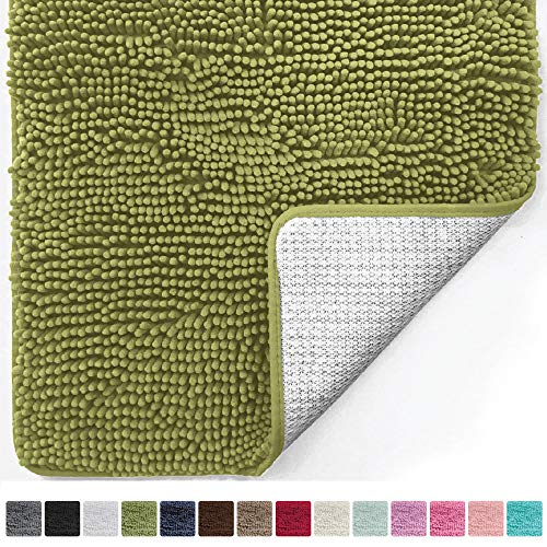 Gorilla Grip Original Luxury Chenille Bathroom Rug Mat (30 x 20), Extra Soft and Absorbent Shaggy Rugs, Machine Wash/Dry, Perfect Plush Carpet Mats for Tub, Shower, and Bath Room (Green)