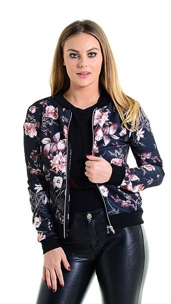 New Womens Ladies Rose Floral Print Zip Up Biker Bomber Jacket Coat Top UK 8-14