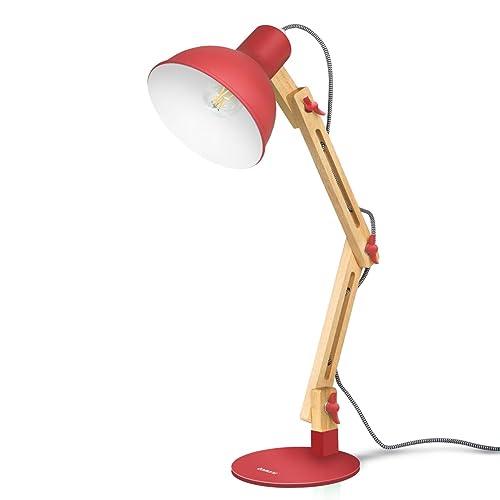Tomons Décoration Lampe de Table LED Lampe de Bureau Salon Design Original Lampe en Bois Architecte Moderne Réglable Luminaire Industrielle à Pose