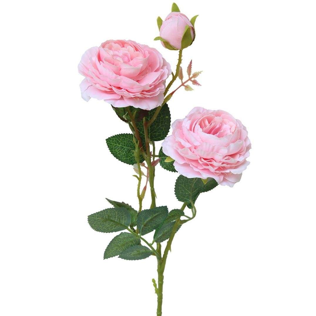 Wakeu Artificial Western Rose Fake Silk Flower Peony Single Floral Home Decor Living Room Bedroom Garden Party Wedding Decoration in Pots Vase for Desk Table (Pink)