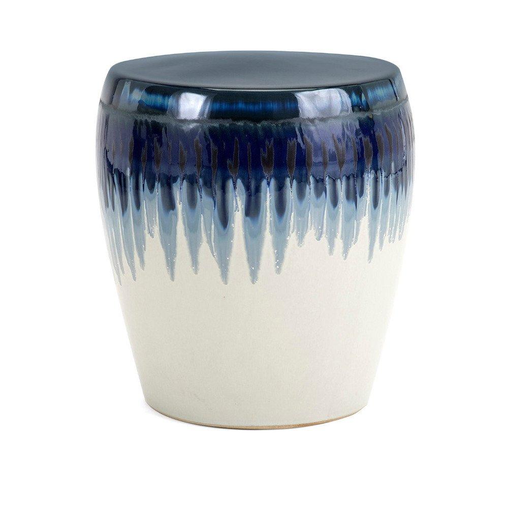 Benzara Hamako Ceramic Garden, White & Blue Stool