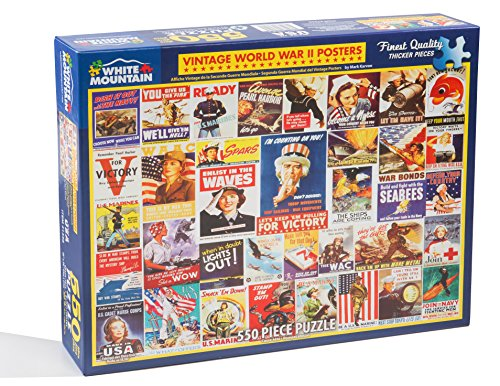 White Mountain Puzzles Vintage WWII Posters - 550 Piece Puzzle by Artist Mark Karvon