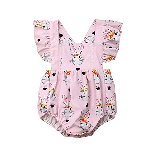 6f7daf74bc5 Amazon.com  Cute Infant Newborn Baby Girl Easter Outfit Ruffles Lace Bunny  Romper Bodysuit Clothes  Clothing