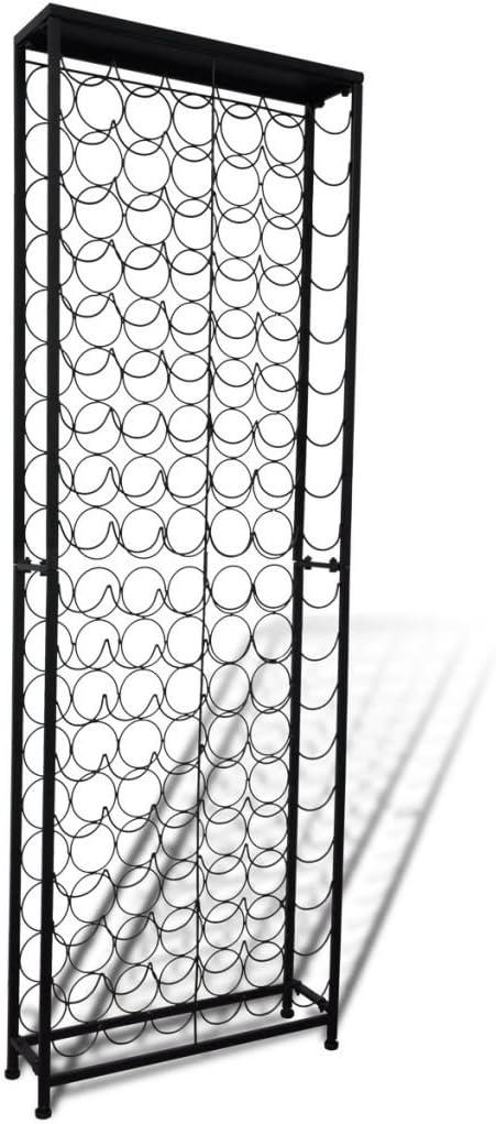 Nishore Botellero de Metal para 108 Botellas Hierro Forjado, Botellero de Estilo Clásico y Elegante con Recubrimiento en Polvo Negro 65 x 24 x 191 cm