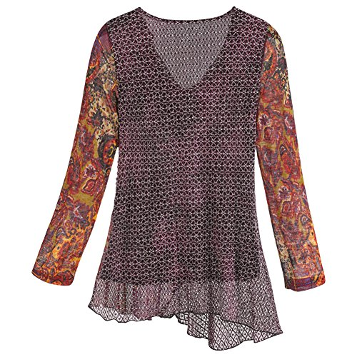 Women's Tunic Top - Whimsy Plum Draped Neckline Blouse - 2X