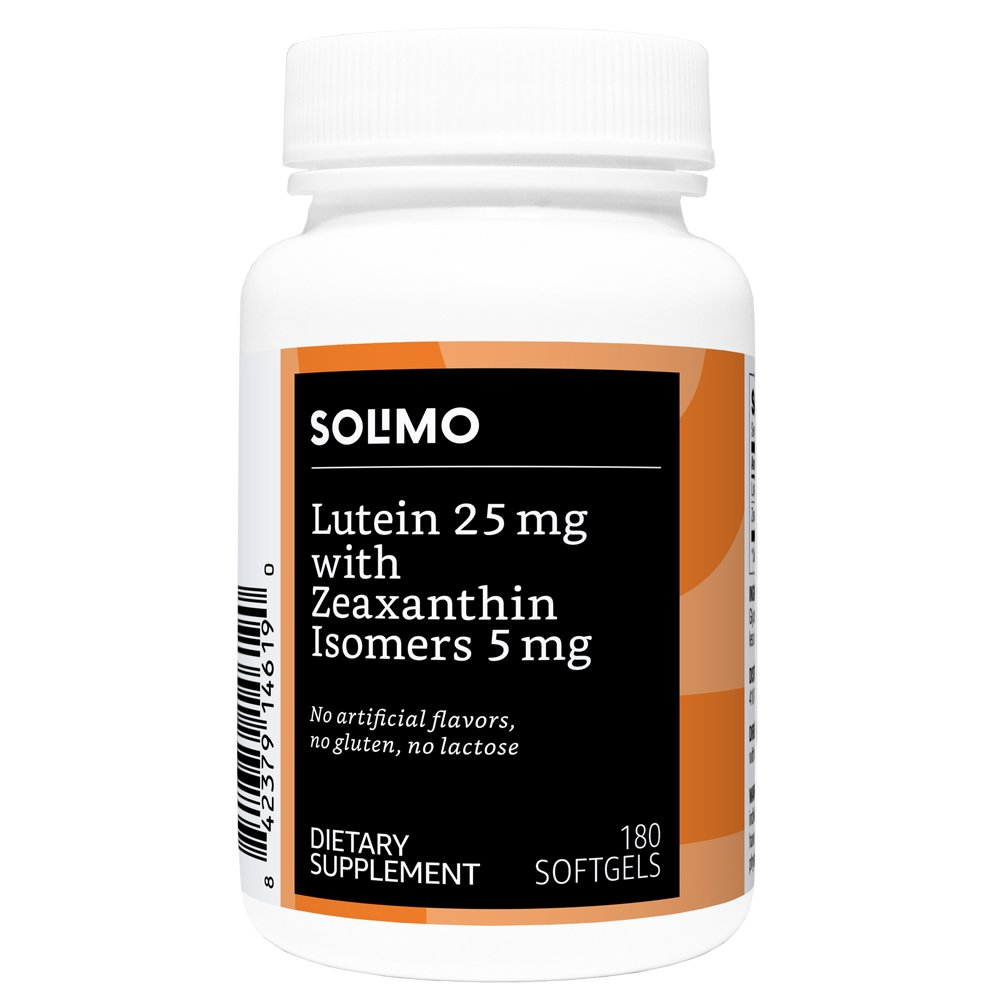 Amazon Brand - Solimo Lutein 25mg with Zeaxanthin Isomers 5mg, 180 Softgels, Six Month Supply
