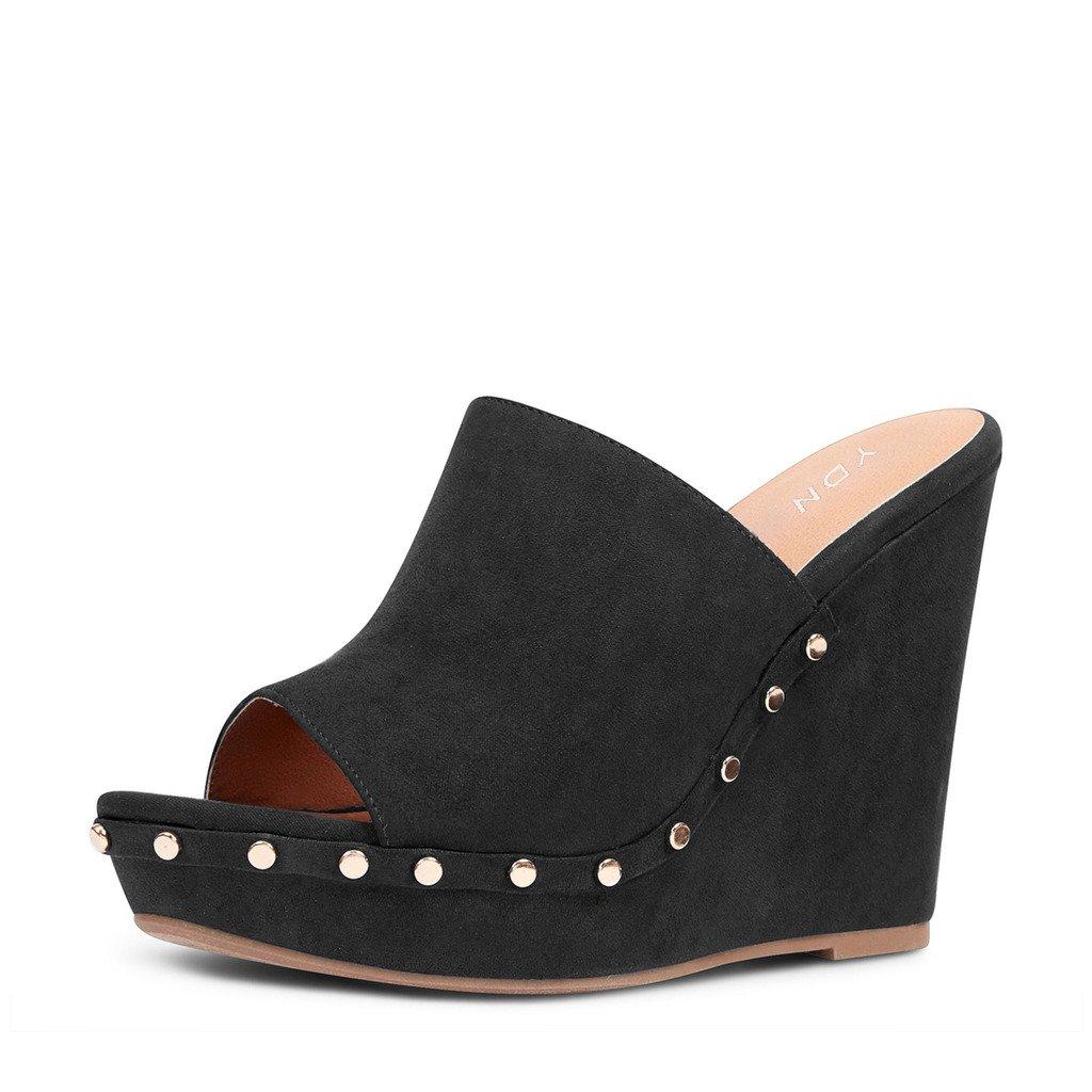 YDN Women Studded High Heel Wedge Sandals Open Toe Platform Clogs Mules Slide Shoes B071SJ6J3R 15 B(M) US|Black